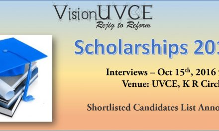 VisionUVCE Scholarships 2016-17 – Interview Shortlist
