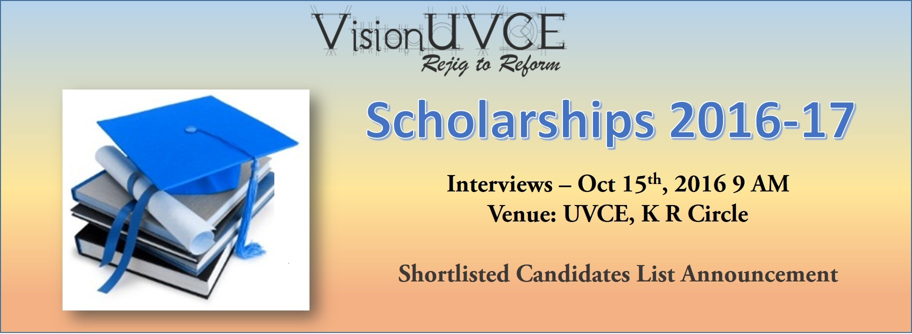 VisionUVCE Scholarships 2016-17 Shortlist